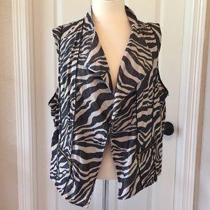 Chico's Zebra Print Linen Vest Sz 3 Tan & Black